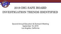 Dig Safe Board Investigations Trends PowerPoint Front Page