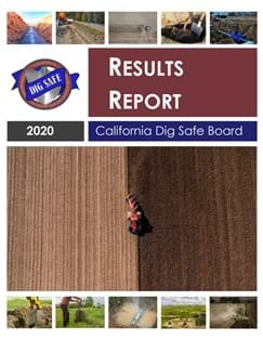 2020 Dig Safe Board Results Report. Cover image shows a tractor tilling a field and other excavation images.